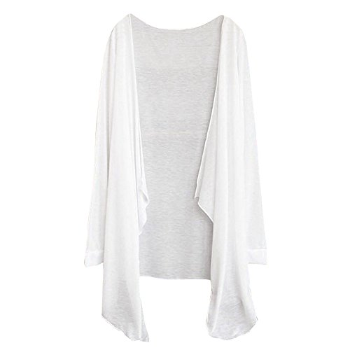 Womens Kimono Cardigans Long Blouse Thin Cover up Modal Sun Protection Clothing Tops Outwear (White, Free ()