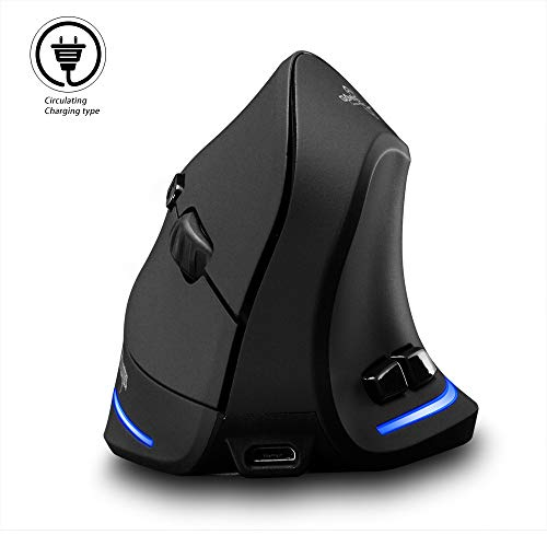 Vertical Mouse Wireless, Attoe Right Handed 2.4GHz Wireless Ergonomic Rechargeable Vertical Mouse with 3 Adjustable DPI 1000 1600 2400, 6 Buttons,Compatible with PC, Desktop,Mac Black