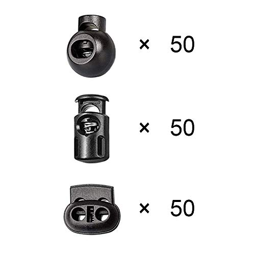 Huture 150PCS DIY Plastic Spring Buckle Loaded Fasteners Dual Hole Cord Locks Bungee Rope Toggle Stopper Buttons Fastener for Lanyard Luggage Clothing Backpack Sportwear Shoelace Tent Black