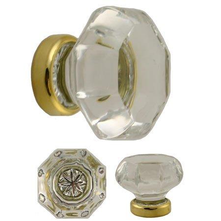 UNIQANTIQ HARDWARE SUPPLY KF-22C Octagonal Clear Glass KNOB with Brass Base - 2 PC/Pack + Free Bonus (Skeleton Key Badge)