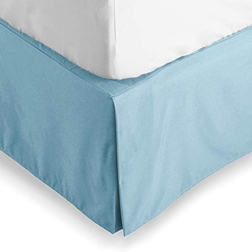 Bare Home Bed Skirt Double Brushed Premium Microfiber, 15-Inch Tailored Drop Pleated Dust Ruffle, 1800 Ultra-Soft, Shrink Fade Resistant (King, Light Blue)
