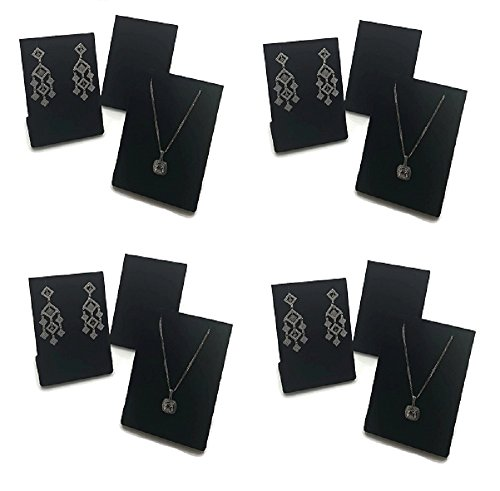 FlanicaUSA 12 pcs Black Velvet Pendant Chain Necklace and Earring Display Stand 3.5""