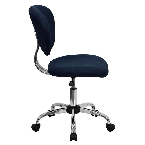 Flash Furniture Mid-Back Navy Mesh Swivel Task Chair with Chrome Base
