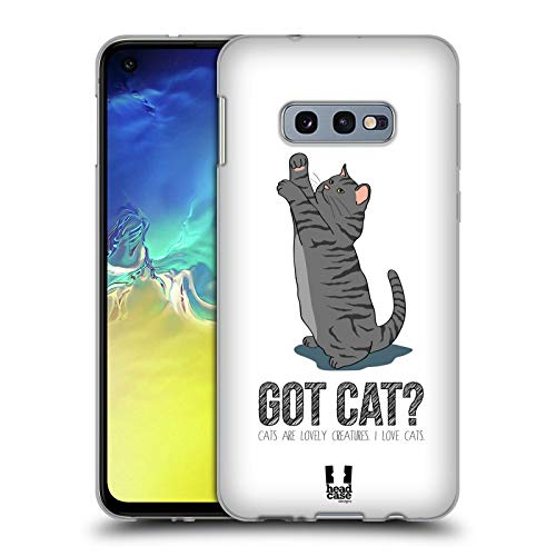 Head Case Designs Grey Got Cat Soft Gel Case for Samsung Galaxy S10e