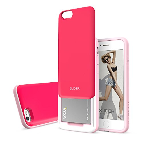 Slider 3-Layer TPU and PC Slim Bumper Wallet Case with Card Slot for iPhone 6s Plus / 6 Plus - Hot Pink