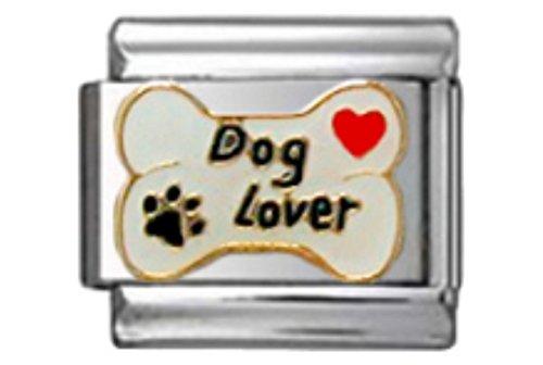 Stylysh Charms Dog Lover Dog Bone Enamel Italian 9mm Link DG424 ()