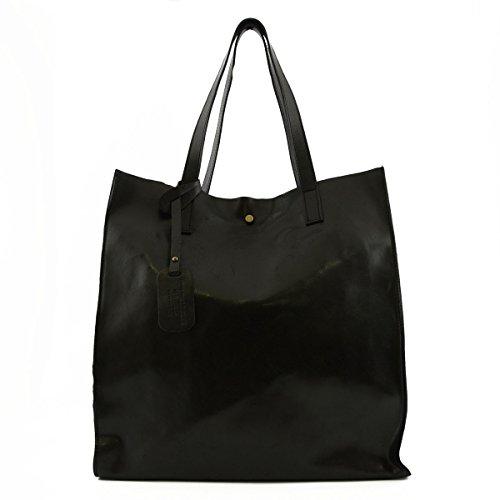Sac Shopper En Cuir Véritable Avec Pochette Intérieure Couleur Noir - Maroquinerie Fait En Italie - Sac Femme