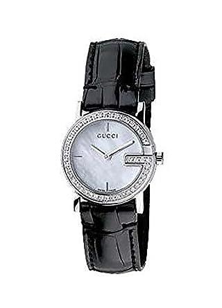 9835cc97c76 Gucci 101-Series Quartz Black Leather Mother of Pearl Diamond Women s Watch  - YA101509  Amazon.co.uk  Watches