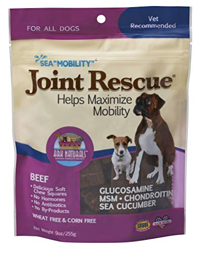 Joint Rescue Chewable - Ark Naturals Sea Mobility Joint Rescue Chews, Beef, Increase Flexibility, Mobility and Joint Comfort, Vet Recommended for All Dog Breeds, 500 mg Glucosamine, 9 oz. Bag