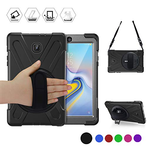 Samsung Galaxy Tab A 8.0 2018 Case, BRAECN [360 Degree Stand/Hand Strap] [Detachable Shoulder Strap] Three Layer Rugged Shockproof Protective Case for Galaxy Tab A 8.0 2018 Release T387 Tablet (BLACK)