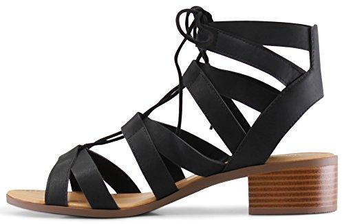MARCOREPUBLIC Zurich Open Toe Gladiator Chunky Block Stacked Heels Sandals - (Black) - 8.5 by MARCOREPUBLIC (Image #4)