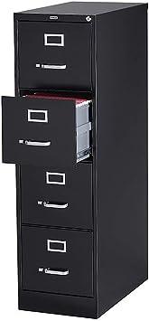 Staples 204082 4-Drawer Vertical File Cabinet Locking Letter Black 25-Inch D 25164D