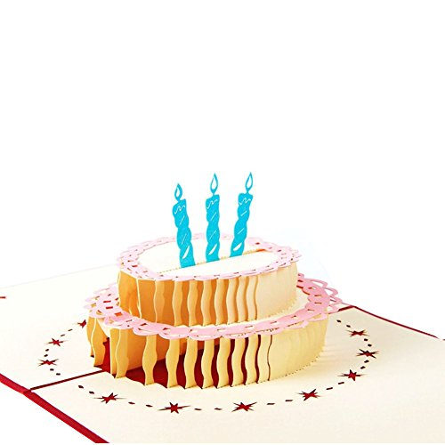 Wivily Birthday Cake Design With Red Cover Handmade 3D Pop Up Greeting Cards Birthday Gifts For (Cute Halloween Cakes Birthday)