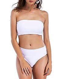 Women Strap Wrap Tube Bandeau Top Bikini Set Push Up Padded Swimsuit Bathing Suit 2 Pcs
