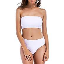 BELLEZIVA Women Strap Wrap Tube Bandeau Top Bikini Set Push Up Padded Swimsuit Bathing Suit 2 Pcs