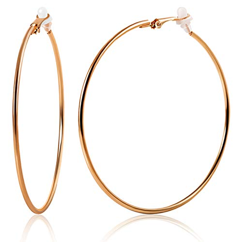Rose Pierced Earrings - OwMell Large Stainless Hoop Earrings Clip On Earrings Non Piercing Earrings for Women Girls (Rose Gold 7cm)