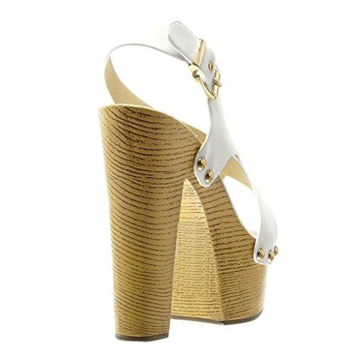 Angkorly - Chaussure Mode Sabot Sandale plateforme femme clouté métallique bois Talon compensé plateforme 14 CM - Blanc