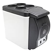 HUANJIE 12V 6L Capacity Portable Car Refrigerator Cooler Warmer Truck Electric Fridge for Travel RV Boat (Type1 6L)