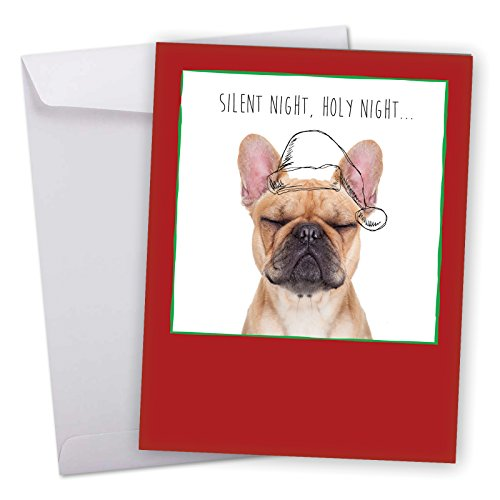 J6582AXSG Jumbo Merry Christmas Greeting Card: Dogs & Doodles, Featuring Adorable Doggy Image With Hand Drawn Christmas Line Art With Envelope (Big Size: 8.5