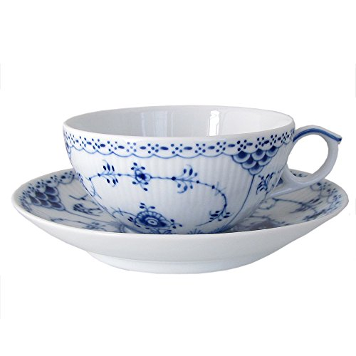 Blue Fluted Half Lace 6.75 oz. Teacup and Saucer by Royal Copenhagen