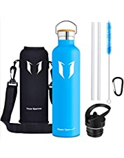 Super Sparrow Water Bottle -1000ml - Double Wall Vacuum Insulated Stainless Steel Bottle - Standard Mouth - Leak Proof Sports Bottle - with 2 Exchangeable Caps + Bottle Pouch