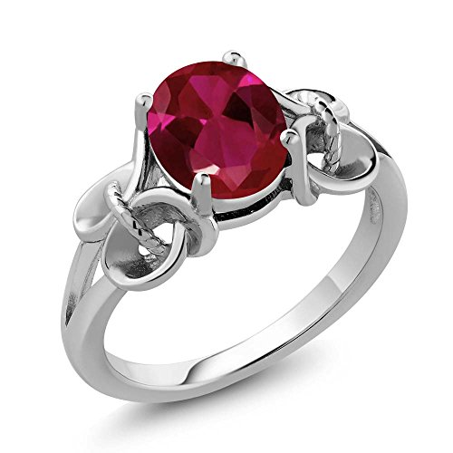 Blue Sapphire Ruby Ring - Sterling Silver Red Created Ruby Women's Ring (2.39 cttw, 9X7MM Oval),Red,Size 5