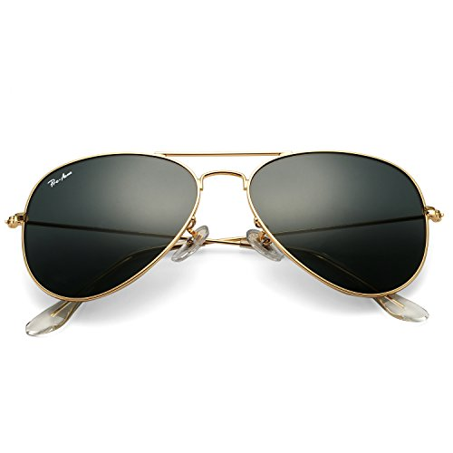 Pro Acme Classic Aviator Sunglasses for Men Women 100% Real Glass Lens