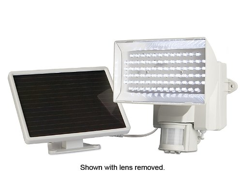 MAXSA Solar-Powered Security Floodlight, Motion-Activated 80 LED Outdoor Safety Light, Off-White 40225