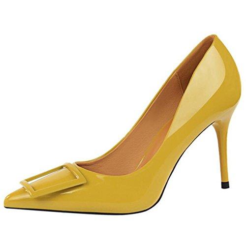 Mashiaoyi Damen Spitze-Zehe Stiletto ohne Verschluss Metall Pumps Gelb