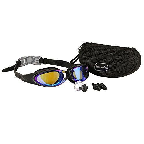 [Swimming goggles good vision no leak swim goggles comfy fit swimming pool glasses by Bezzee-Pro (Black, Blue Tinted] (Plug And Socket Costumes)