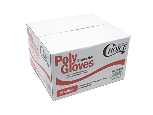 Choice Poly Disposable Polyethylene Gloves (Pack of 1000 - Medium)