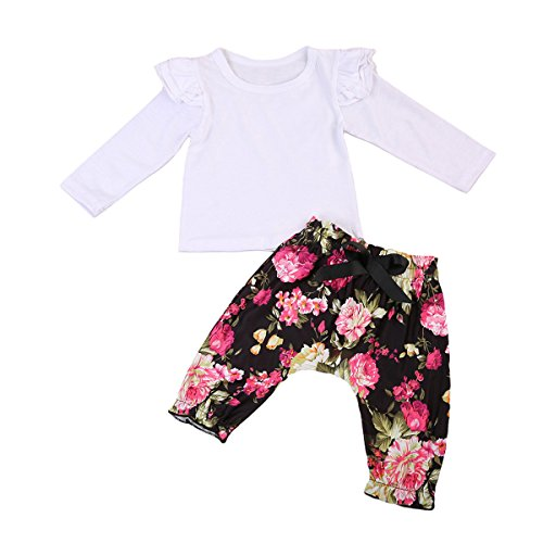 2Pcs Baby Girls Floral Pants Set Long Sleeve Ruffled Top + Flower Pants Outfit Clothes (0-18months, White) (White Ruffled Top Outfit)