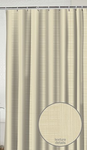 Waverly Linen Stripe Sand Fabric Shower Curtain