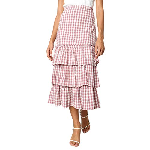 - RIUDA Women's Sweet Plaid Printing Party Elastic Waist Tulle Ruffles Mesh Long Tiered Skirt Pink