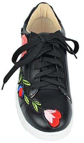 Chase & Chloe Femmes Plate-forme Brodée Florale Mode Sneakers Noir