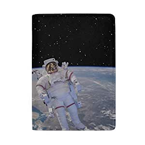 Stronaut in Outer Space with Geometric Blocking Print Passport Holder Cover Case Travel Luggage Passport Wallet Card Holder Made with Leather for Men Women Kids Family