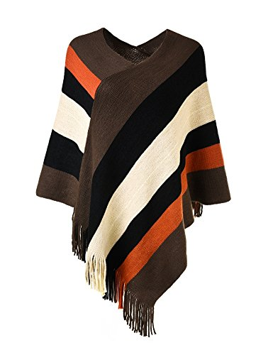 Ferand Women's Elegant Knitted Poncho Top with Stripe Patterns and Fringed Sides, Brown & Black