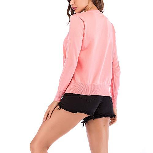 Punto otoño Rayas otoño Hueco Moda de Rosa Fiesta Primavera Mujer Chaquetas de de para PAOLIAN Cortas Cárdigans Señora de Mujer Elegantes Prendas de Ropa b Invierno Abrigo va5qnP