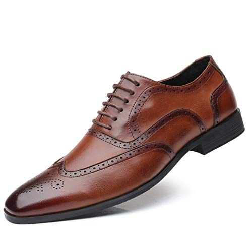 Men's Pointed Toe Shoes - Leather Wedding Shoes Business Fashion Casual Shoes,2019 New Brown ()