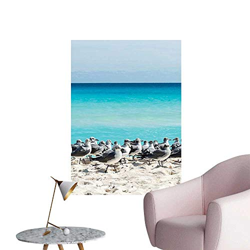 "Wall Stickers for Living Room Seagull The Cancun Beach Mexico Sandy Beach Coast Clear Water Vinyl Wall Stickers Print,32""W x 60""L"