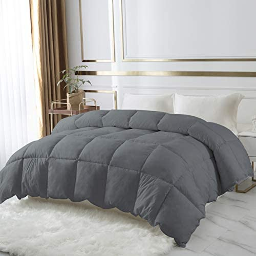 DROVAN 100% Cotton Quilted Down Comforter, Feather and Goose Duck Down Filling Duvet Insert, Soft Breathable for All Season, Grey, King (106 via 90 inches)