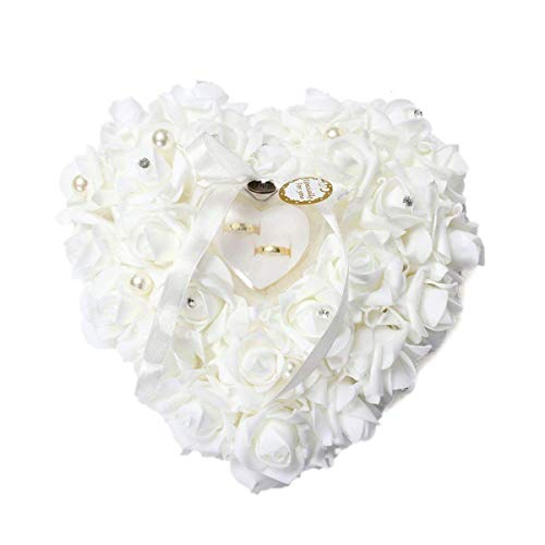 (mossty Wedding Ring Pillow,Rose Heart Ring Box Wedding Accessories White Ring Pillow for Wedding Lace Crystal)
