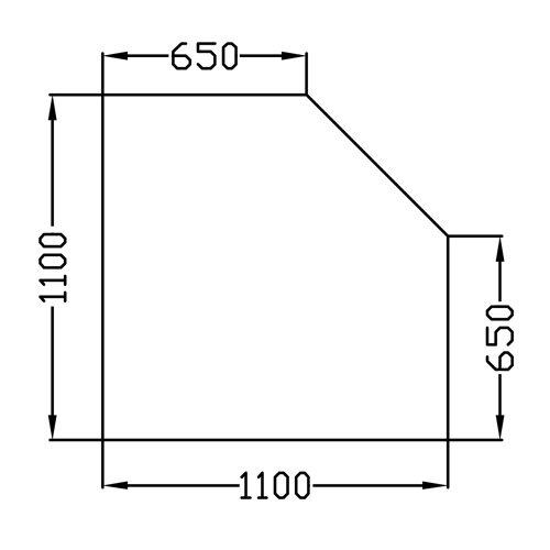 Funkenschutzplatte/ Glasbodenplatte/ Kaminbodenplatte Klarglas Fünfeck 110 x 110cm F17