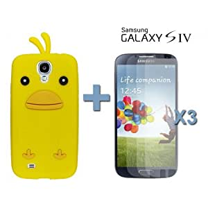 OnlineBestDigital - Chick Style Soft Silicone Case for Samsung Galaxy S4 IV I9500 / I9505 - Yellow with 3 Screen Protectors