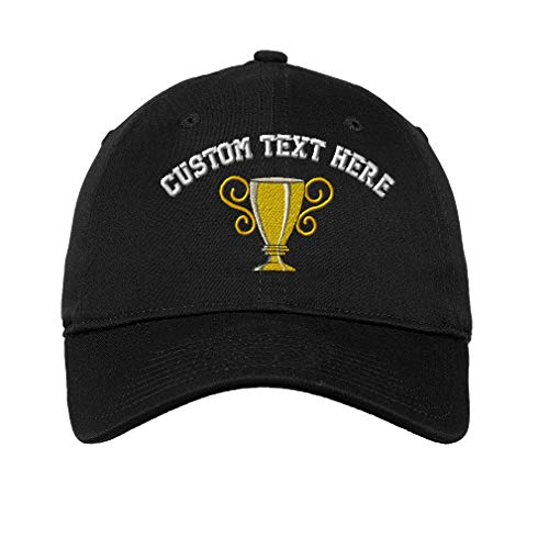 Custom Trophy Cup Embroidery Design Unisex Adult Flat Solid Buckle Cotton 6 Panel Unstructured Baseball Hat Adjustable Cap - Black, One Size
