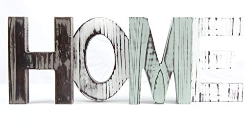Pumpkino Wooden Home Sign - Decorative Cutout Wood Words - Rustic Home Decor - Multicolor, Distressed, Freestanding, Displays Beautifully on Book Shelf, Mantel, Table, Desk, etc.