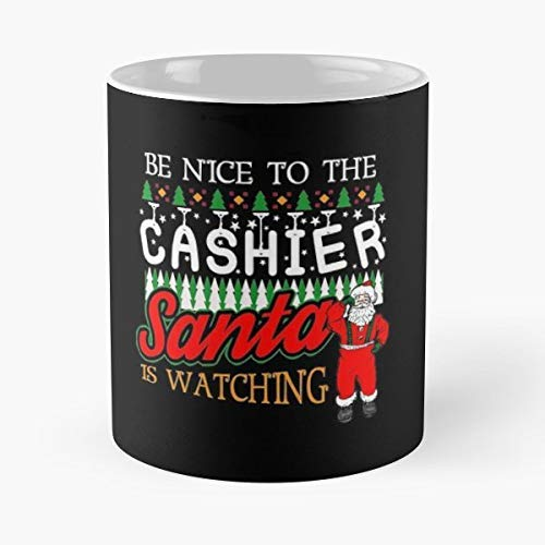Cashier Shirt Gift Merry Christmas Ugly Sweater 11 Oz Coffee Mugs Best Gift For Father Day