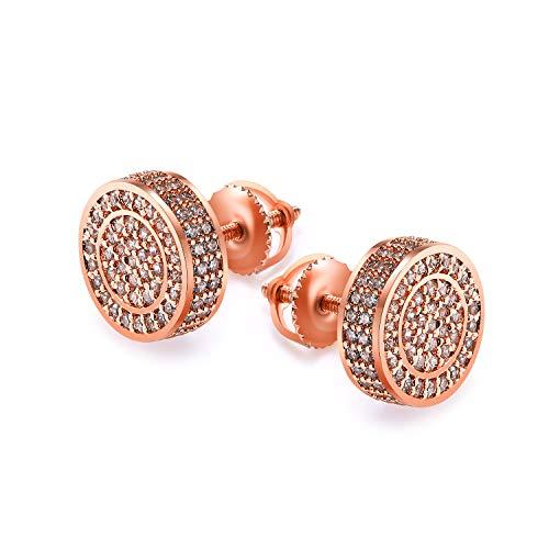 Rose Earrings Screw - Gold Men Earrings 14 Gold Plate Mens Gold Earring for Men Screw Back Mens Hip Hop Jewelry (Rose)