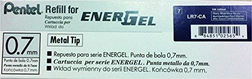 Pentel Refill Ink for EnerGel RTX Retractable Liquid Gel Pen, 12 Pack, 0.7mm, Medium Line, Navy Blue (LR7-CA) Photo #2