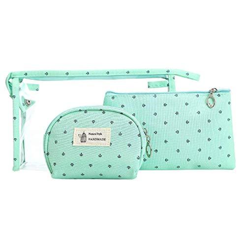 Okayji PVC & polyester Toiletry Bag (Set of 3) (Blue_Pouch_Purse_Bag)